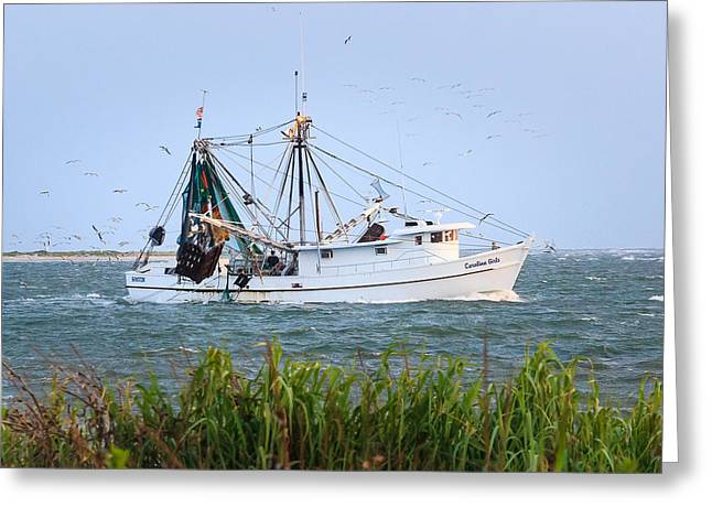 Carolina Girls Shrimp Boat Greeting Card