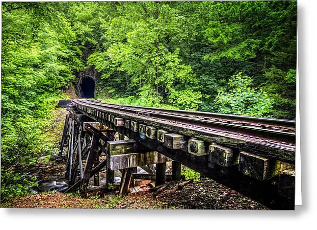 Carolina Railroad Trestle Greeting Card by Debra and Dave Vanderlaan