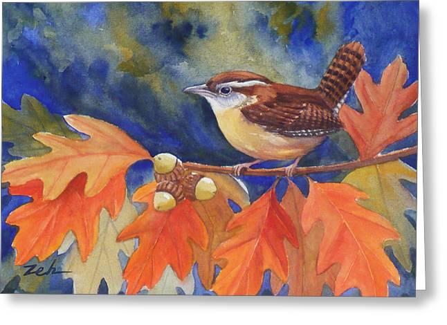 Carolina Wren In Autumn Greeting Card