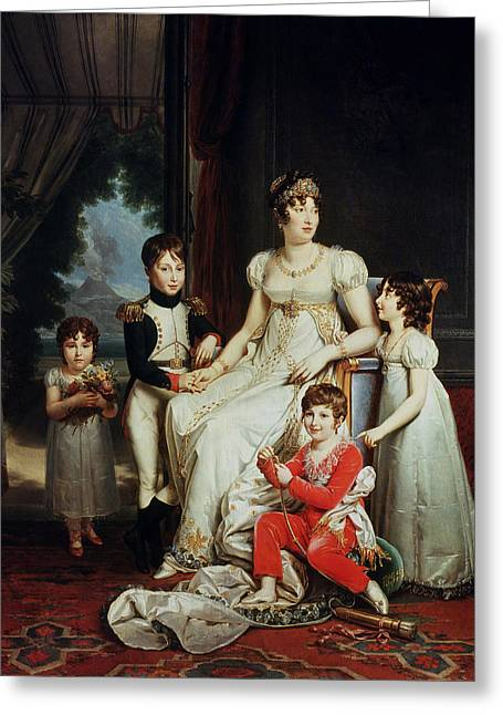 Caroline Bonaparte 1782-1839 And Her Children Oil On Canvas Greeting Card by Francois Pascal Simon, Baron Gerard