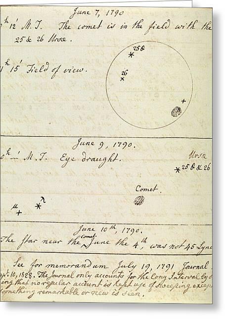 Caroline Herschel Comet Observation Greeting Card by Royal Astronomical Society