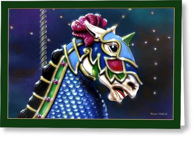 Carosel Horse Greeting Card by Ron Haist