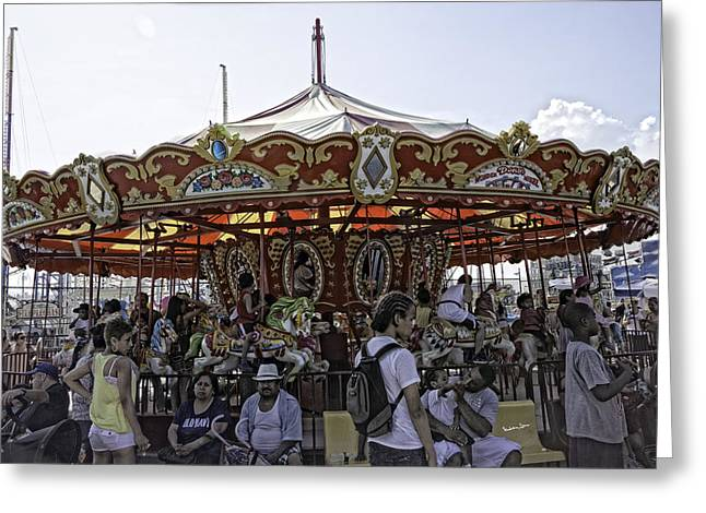 Carousel 2013 - Coney Island - Brooklyn - New York Greeting Card by Madeline Ellis