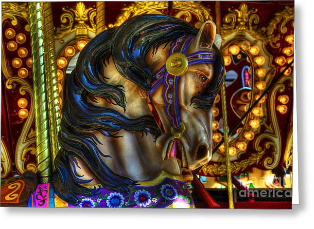 Carousel Beauty Waiting For A Rider Greeting Card by Bob Christopher