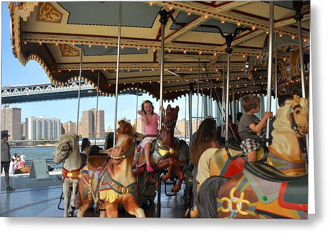 Carousel Brooklyn Bridge Park Greeting Card