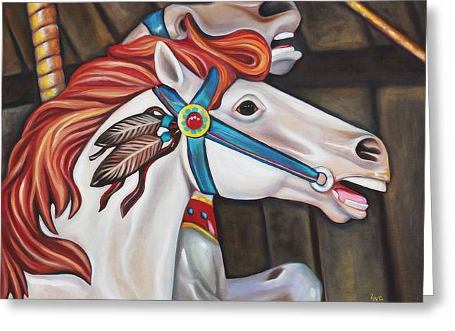Carousel Chief Greeting Card by Eve  Wheeler