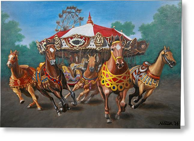 Carousel Escape At The Park Greeting Card