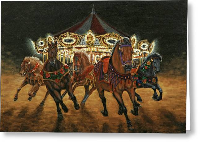 Carousel Escape At Night Greeting Card