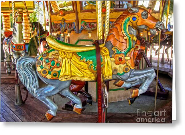 Carousel Horse - 03 Greeting Card by Gregory Dyer
