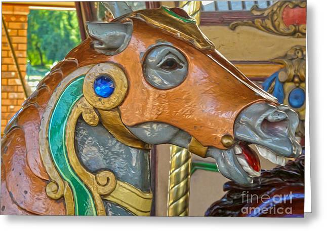 Carousel Horse - 04 Greeting Card by Gregory Dyer