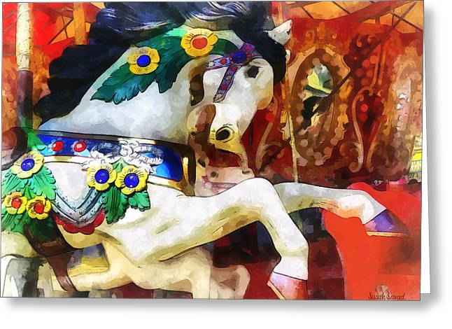Carousel Horse Closeup Greeting Card by Susan Savad