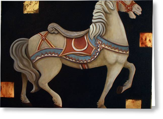 Carousel Horse Greeting Card by Gerry High