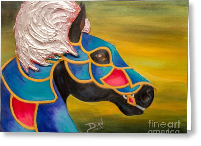 Carousel Horse-knightmare Greeting Card