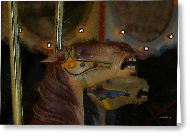 Carousel Horses Painterly Greeting Card by Ernie Echols