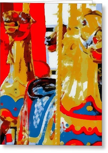 Carousel Horses Pop Art Greeting Card by Dan Sproul
