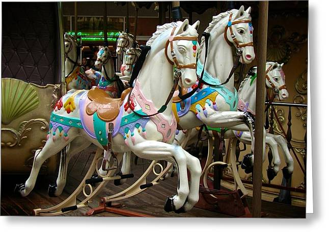 Carousel Horses Greeting Card by Ricardo J Ruiz de Porras