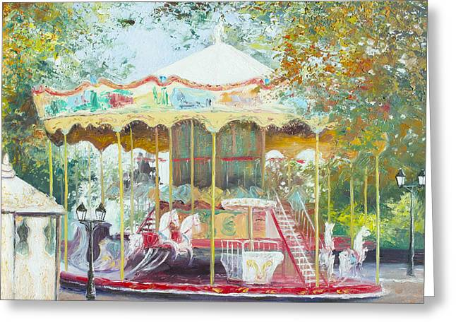 Carousel In Montmartre Paris Greeting Card by Jan Matson