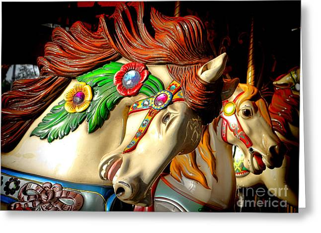 Carousel Greeting Card by Olivier Le Queinec