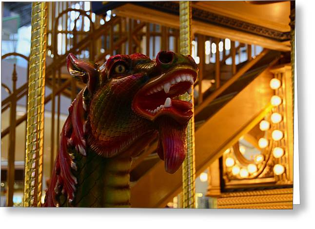 Greeting Card featuring the photograph Vintage Carousel Red Dragon - 2 by Renee Anderson