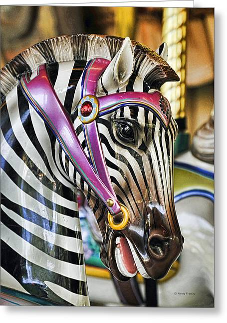 Carousel Zebra Greeting Card by Kenny Francis
