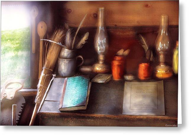 Carpenter - In A Carpenter's Workshop  Greeting Card by Mike Savad