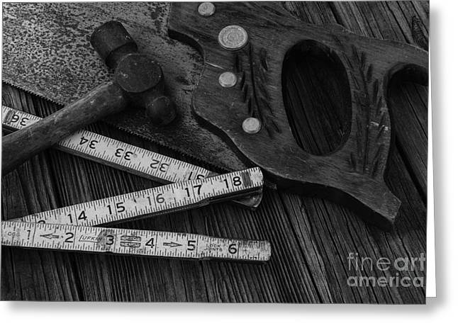 Carpenter - Measure Twice Cut Once Greeting Card by Paul Ward