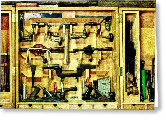 Carpenter - Woodworking Tools Greeting Card by Susan Savad