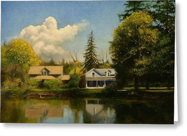 Greeting Card featuring the painting Carpenter's Pond by Wayne Daniels