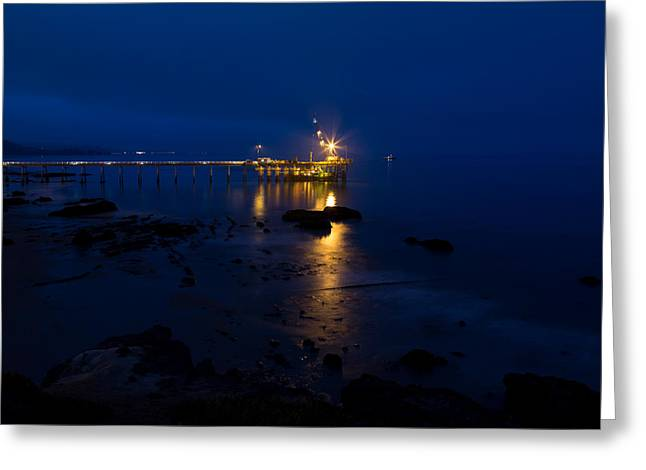 Carpinteria Blue And Gold Greeting Card by John Daly