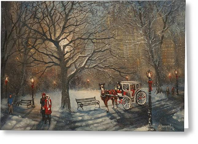 Carriage Ride In Central Park Greeting Card by Tom Shropshire