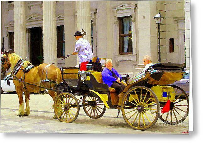 Carriage Ride On Cobblestones Rue Notre Dame Tan Horse Golden Caleche Old Port Quebec Scene Cspandau Greeting Card by Carole Spandau
