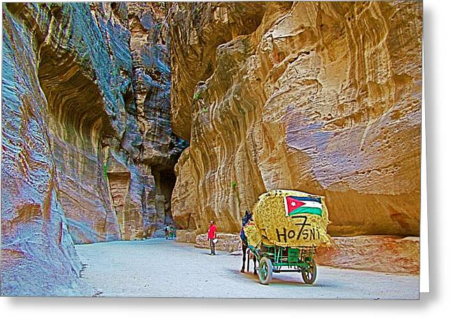 Carriage With A Jordanian Flag In Gorge In Petra-jordan Greeting Card by Ruth Hager