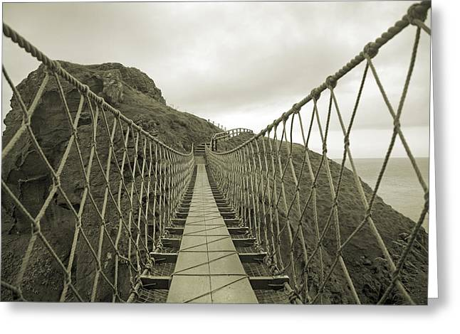 Carrick-a-rede Rope Bridge Greeting Card by Betsy Knapp