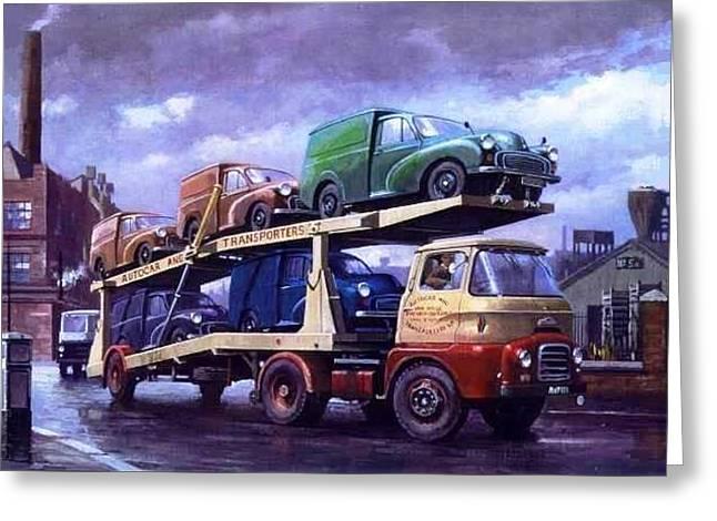 Carrimore Car Transporter At Longbridge. Greeting Card by Mike  Jeffries