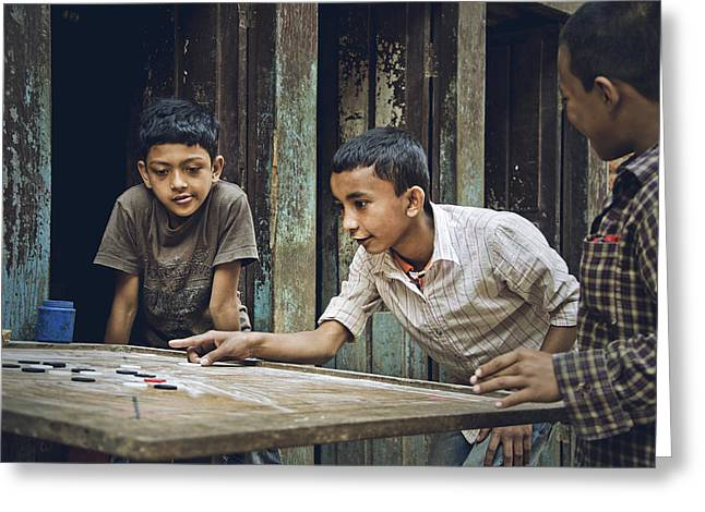 Carrom Boys Greeting Card