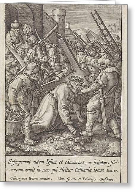 Carrying Of The Cross, Hieronymus Wierix Greeting Card by Hieronymus Wierix