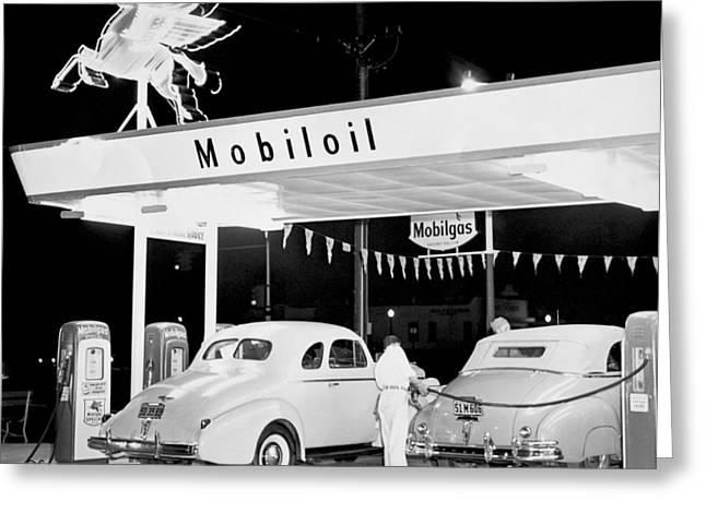 Cars At A Mobil Gas Station Greeting Card