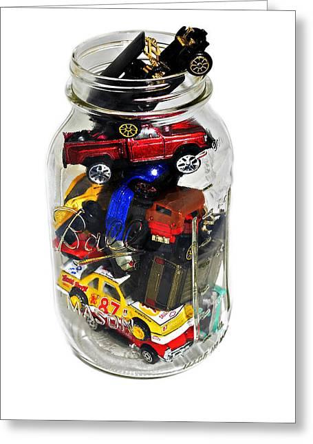 Cars In A Jar Greeting Card by Susan Leggett