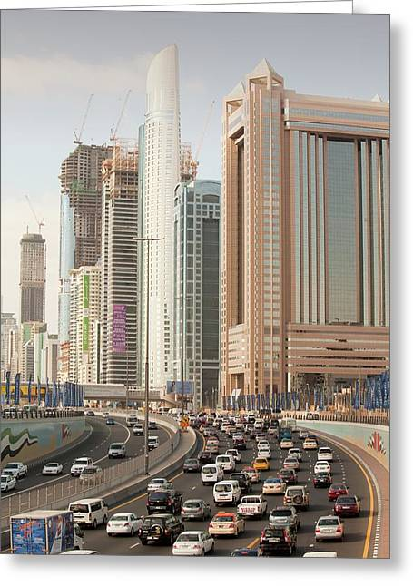 Cars In Dubai Greeting Card by Ashley Cooper