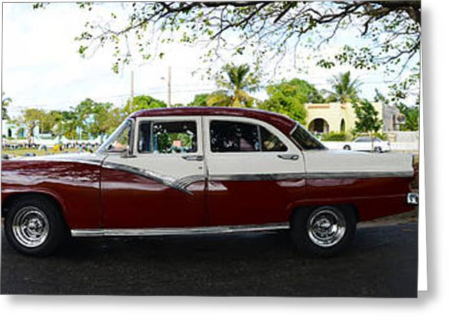Cars Moving On The Road, Havana, Cuba Greeting Card by Panoramic Images