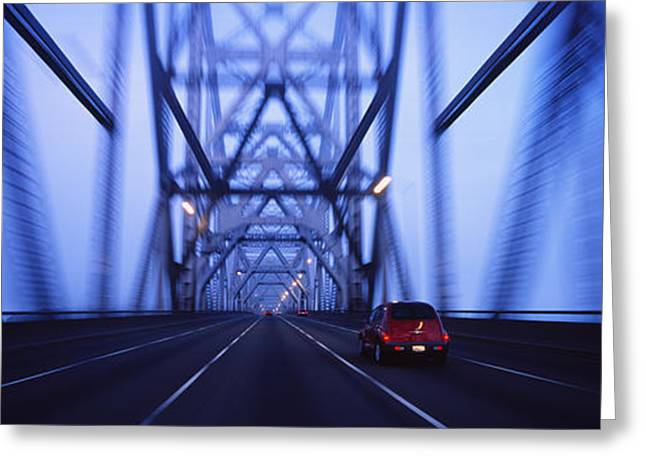 Cars On A Suspension Bridge, Bay Greeting Card