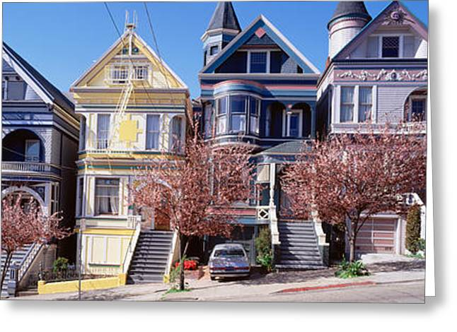 Cars Parked In Front Of Victorian Greeting Card by Panoramic Images