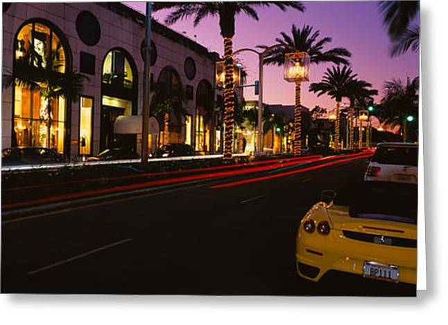 Cars Parked On The Road, Rodeo Drive Greeting Card by Panoramic Images