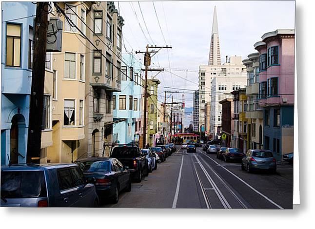 Cars Parked On The Street, Transamerica Greeting Card by Panoramic Images