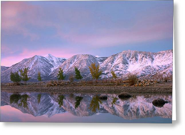 Carson Range Reflected In Carson River Greeting Card
