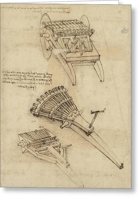 Cart And Weapons From Atlantic Codex Greeting Card by Leonardo Da Vinci