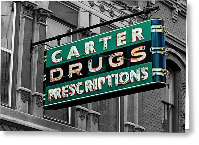 Carter Prescription Drugs Greeting Card by Daniel Woodrum
