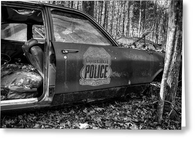 Cartersville Police Car In Black And White Greeting Card