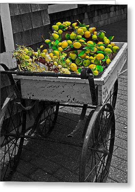 Cartful Of Lemons And Apples Greeting Card