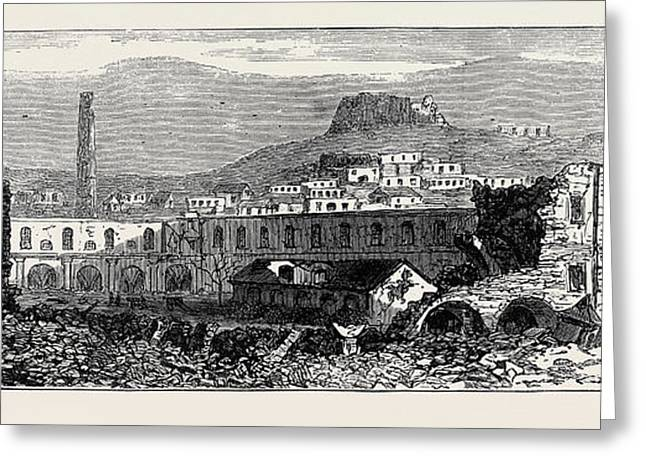 Carthagena After The Siege Scene Of Explosion Of Artillery Greeting Card